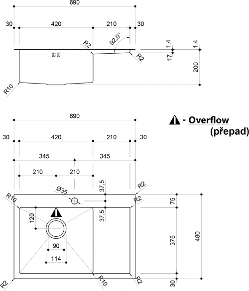 Sapho KIVA nerezový dřez s odkapem, 69x48x20 cm, provedení L EP531L