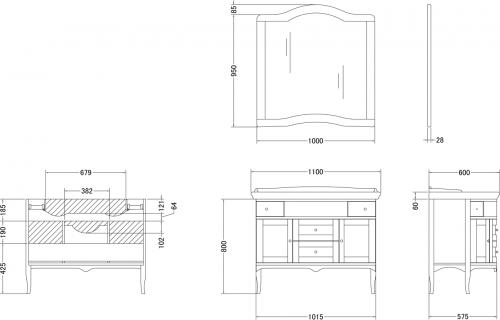 Gallo Wood CALLA NOCE 110-S skříňka s umyvadlem, š. 110cm, noce CN-110