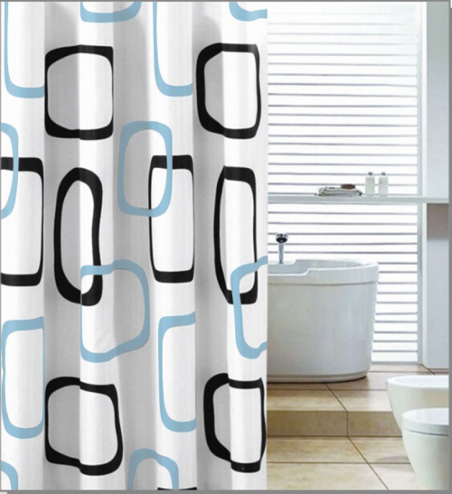 Aqualine Sprchový závěs 180x200cm, polyester, bílá/černá/modrá ZP004