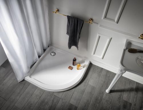 Gelco HERA sprchová vanička z litého mramoru, čtvrtkruh, 90x90x7, 5cm, R550 GH559