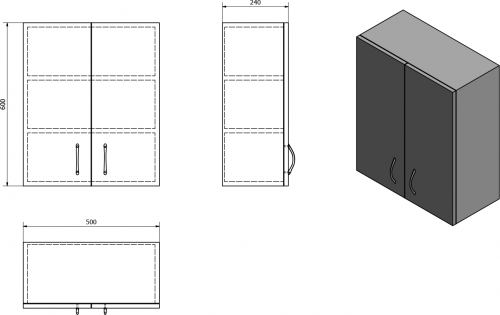 Aqualine SIMPLEX ECO závěsná skříňka 50x60x24cm SIME530
