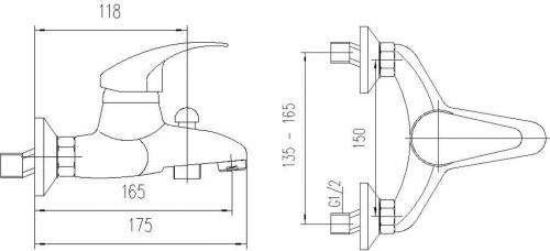 Aqualine KASIOPEA nástěnná vanová baterie, chrom 1107-10