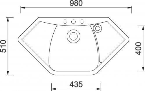 Granitový dřez Sinks NAIKY 980 Granblack+MIX 3P GR TLN980MI3P30
