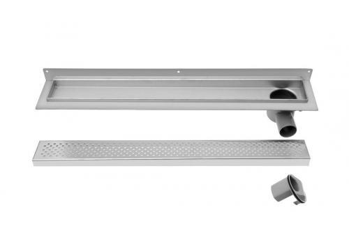 Aqualine KROKUS nerezový sprchový kanálek s roštem, ke zdi, 760x122x92 mm 2715-80
