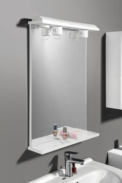 Aqualine EKOSET zrcadlo s osvětlením 60x75x12cm, bílá 57059
