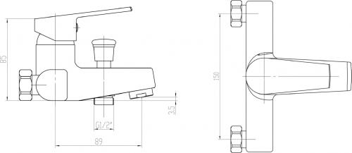 Aqualine ARETA 35 nástěnná vanová baterie, chrom GH126
