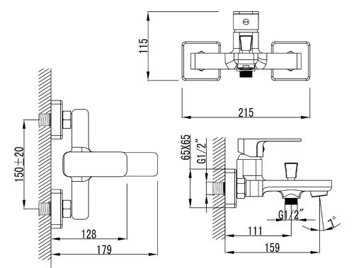 Aqualine FACTOR nástěnná vanová baterie, chrom FC310