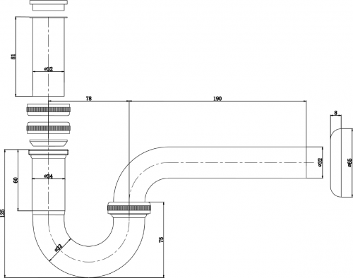 Aqualine Umyvadlový sifon 1'1/4, odpad 32mm, chrom CV1005