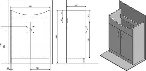 Aqualine SIMPLEX ECO 65 umyvadlová skříňka včetně umyvadla 63x83, 5x30, 7cm SIME650