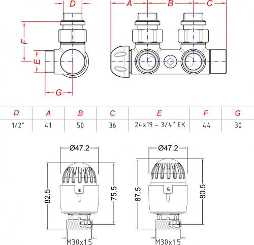 Aqualine TOP 50 připojovací sada termostatická pro středové připojení 50mm, pravé, nikl/bílá CP9710