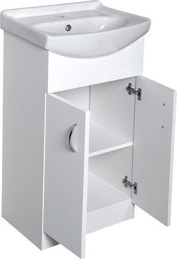 Aqualine EKOSET umyvadlová skříňka včetně umyvadla 47x89, 6x37, 5cm, bílá 57058