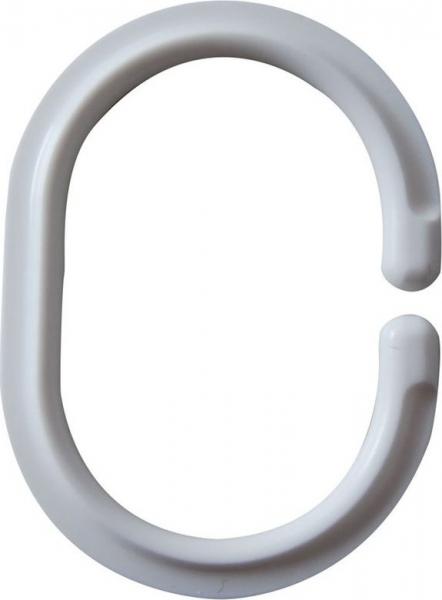 Ridder Kroužky na sprchový závěs 12 ks - C, plast, bílá 49301