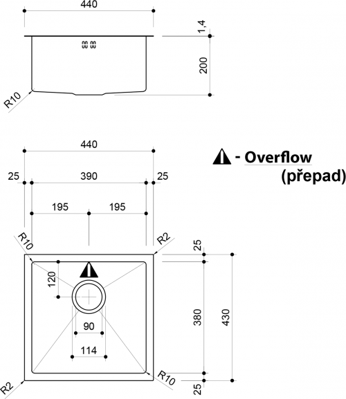 Sapho EPIC nerezový dřez 44x43x20 cm EP428