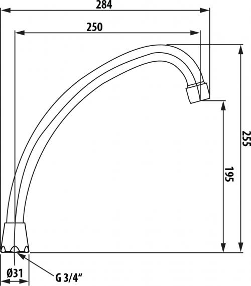 Aqualine Universální výtokové ramínko kbaterii, 25cm, typ-J, chrom 15J250