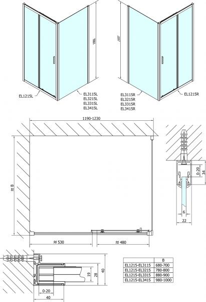 Polysan Easy Line obdélníkový sprchový kout 1200x800mm L/P varianta EL1215EL3215