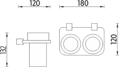 Nimco Bormo Dvojitý držák sklenek BR X3-58DW-26