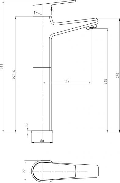 Aqualine ARETA 35 stojánková umyvadlová baterie vysoká, bez výpusti, chrom GH659