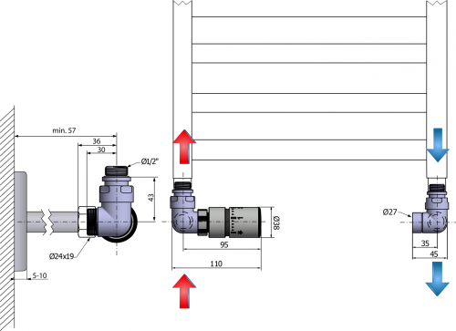 Sapho CORNER připojovací sada ventilů termostatická, levé, broušený nerez CP1511L