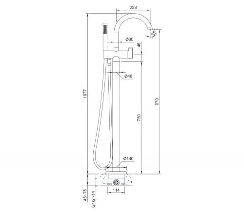 Sapho RHAPSODY vanová baterie s připojením do podlahy, výška 1077mm, chrom R5018