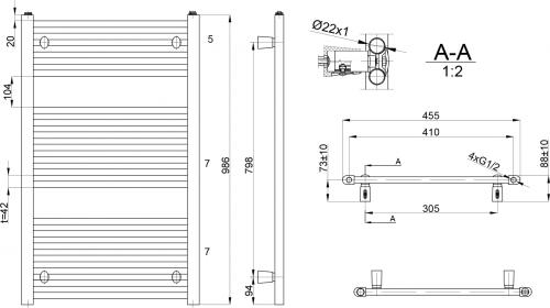 Aqualine DIRECT otopné těleso s bočním připojením 450x986 mm, 426 W, bílá ILR94E