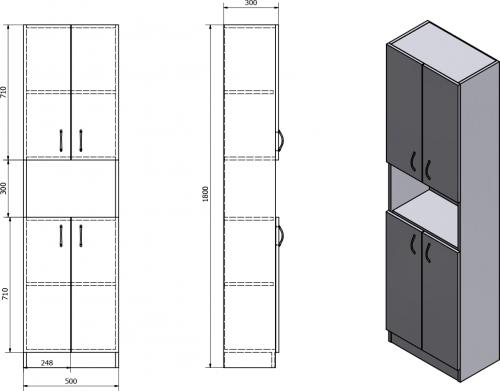 Aqualine SIMPLEX ECO vysoká skříňka 50x180x30cm SIME520