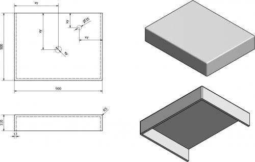 Sapho TAILOR rockstone deska 90x50 cm, provedení límce C TR090C