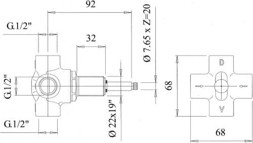 Reitano Rubinetteria ANTEA podomítkový přepínač, bronz DEVIN26