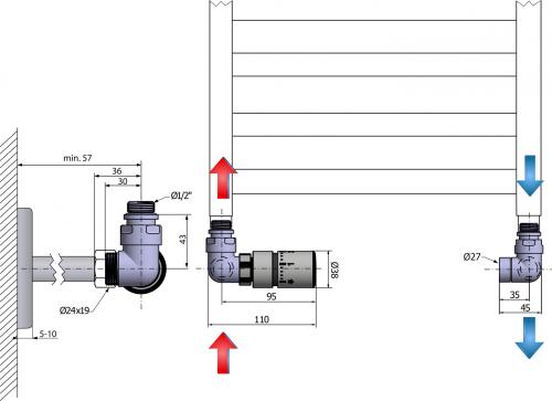 Sapho CORNER připojovací sada ventilů termostatická, levé, chrom CP1011L