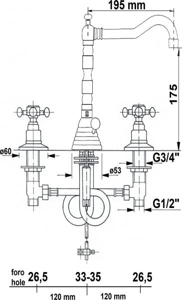 Reitano Rubinetteria ANTEA tříprvková umyvadlová baterie s retro hubicí, s výpustí, bronz 3226