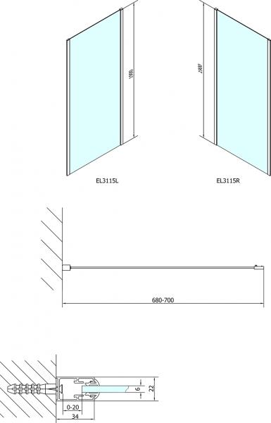 Polysan EASY LINE sprchová boční stěna 700mm, čiré sklo EL3115