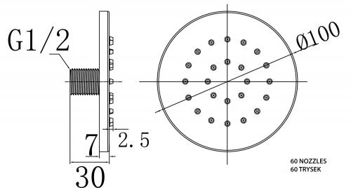 Sapho Pevná nástěnná sprška kulatá chrom AQ731