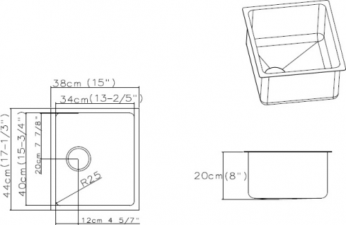 Nerezový dřez Sinks BLOCK 380 V 1mm kartáčovaný STSBLK3804401V