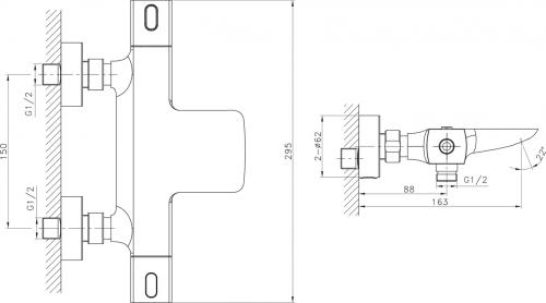 Sapho MIXONA nástěnná termostatická vanová baterie, chrom MG410