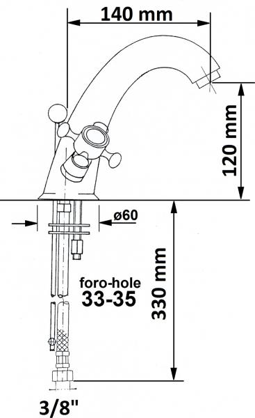 Reitano Rubinetteria ANTEA stojánková umyvadlová baterie vysoká s výpustí, chrom/zlato 3272