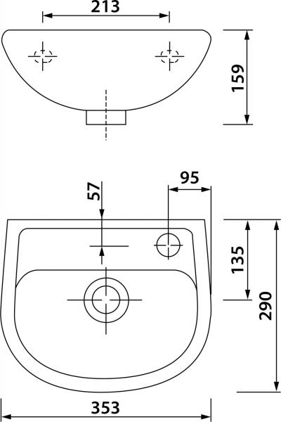 Aqualine OVAL keramické umývátko 35x29cm TP135