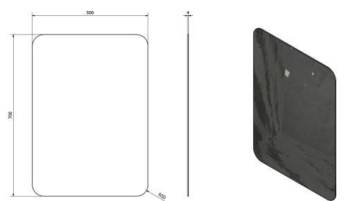 Sapho ISHAPE zrcadlo 500x700mm, zakulacené rohy, bez úchytu AG457