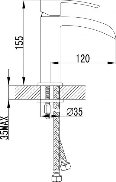 Sapho GINKO 25 stojánková umyvadlová baterie se žlábkem, bez výpusti, v. 155mm, chrom 1101-05