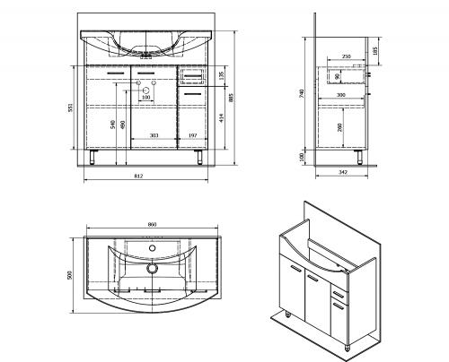 Aqualine ZOJA umyvadlová skříňka 82, 8x74x34, 3cm, mali wenge 51082