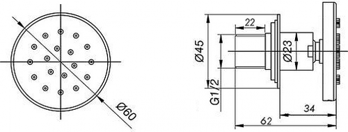Sapho Nástěnná sprška s otočným kloubem, kulatá, chrom AB535