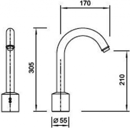 Sapho Stojánková senzorová baterie, vysoká, 6V DC (4xAA), chrom PS212