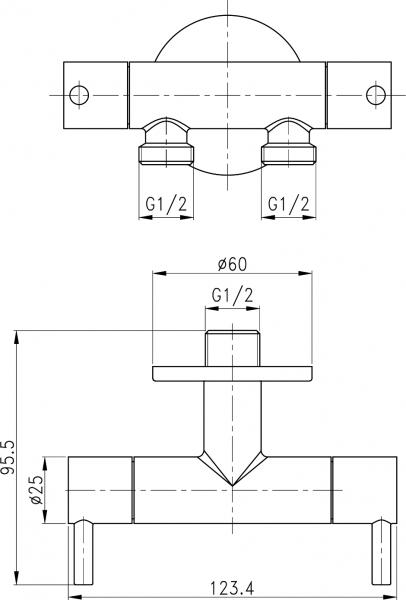 Sapho Dvojventil pro napojení bidetové sprchy a WC, chrom 1209-04-B