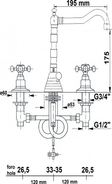 Reitano Rubinetteria ANTEA tříprvková umyvadlová baterie s retro hubicí, s výpustí, zlato 3225ZL