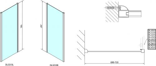 Polysan Lucis Line třístěnný sprchový kout 1600x700x700mm DL4315DL3215DL3215