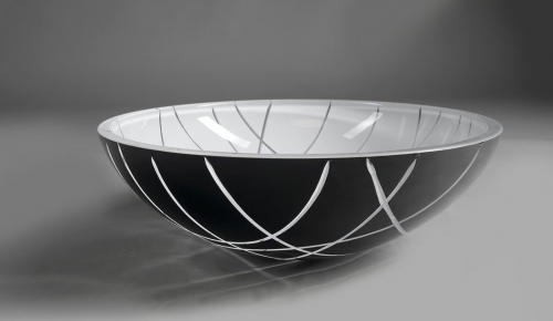 Sapho MURANO LINEA skleněné umyvadlo kulaté 40x14 cm, černá/bílá AL5318-13