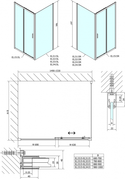 Polysan Easy Line obdélníkový sprchový kout 1500x700mm L/P varianta EL1515EL3115