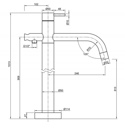 Sapho MINIMAL vanová baterie s připojením do podlahy, nerez MI021