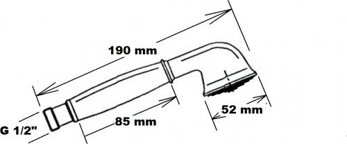 Reitano Rubinetteria ANTEA ruční sprcha, 180mm, mosaz/chrom DOC21