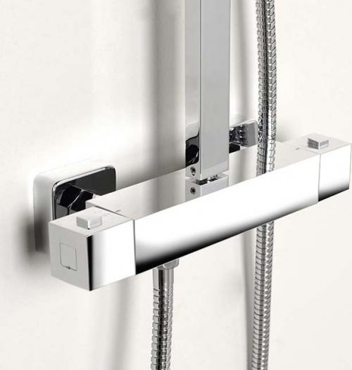 Aqualine JANE sprchový sloup s termostatickou baterií, hranatý, chrom 1202-10