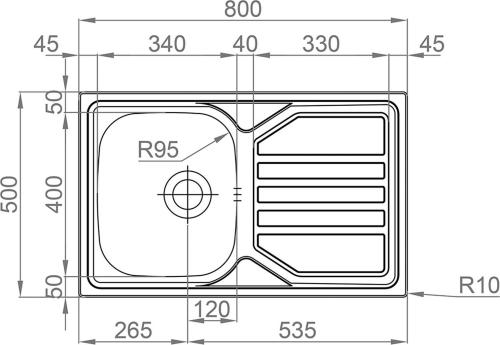 Nerezový dřez Sinks OKIO 800 V 0,7mm matný RDOKM8005007V