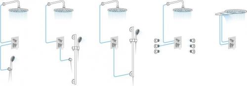 Sapho AXAMITE podomítková sprchová baterie, 2 výstupy, chrom AX42